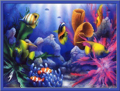 fonds d ecans poissons